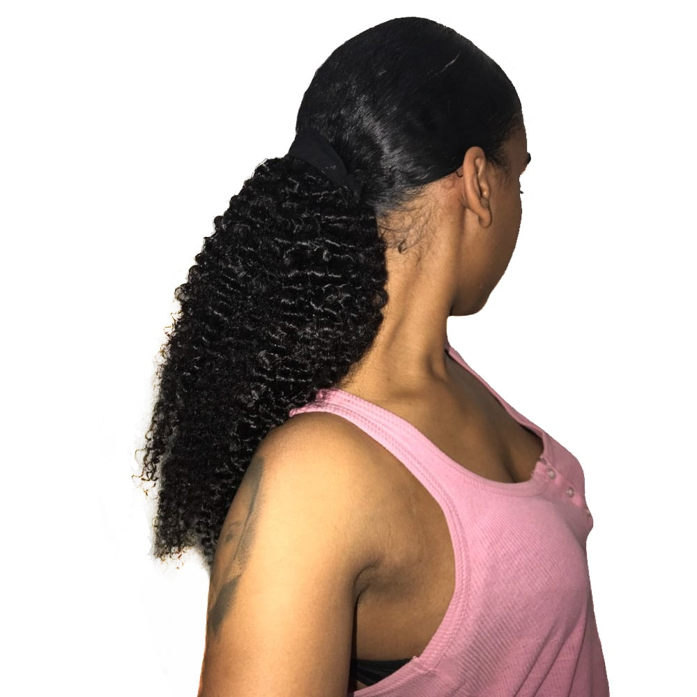 New Brazilian Human Hair Kinky Curl Ponytail Natural Black Clip In