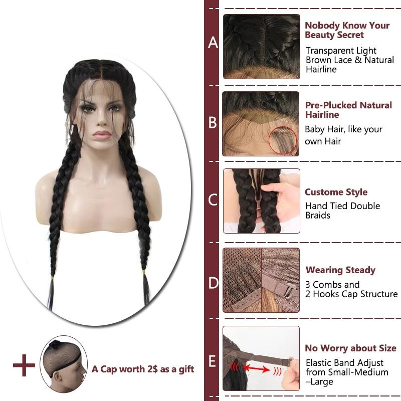 Long Double Braids Lace Front Wig for black women