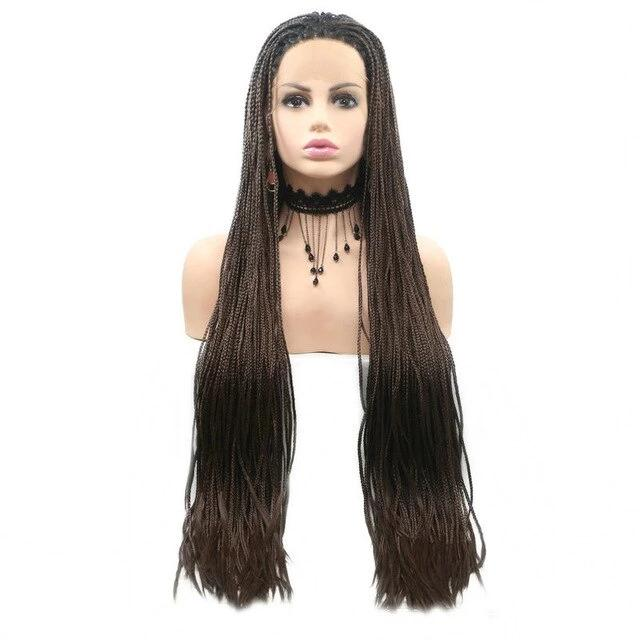Long Box Braids Wig Dark Brown Synthetic Lace Front Wigs Surprisehair