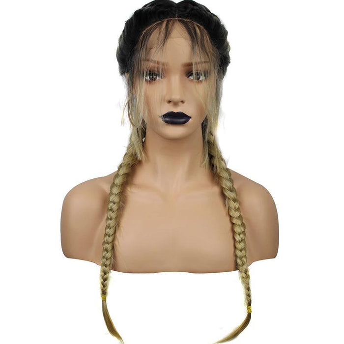 Dark Roots Ombre Blonde double Braided Lace Wig for black women