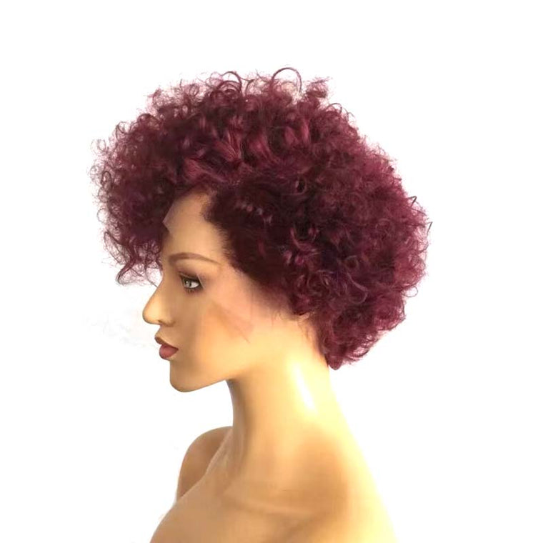 Short Purple Pixie Cut Lace Wig Curly Brazilian Human Hair Surprisehair