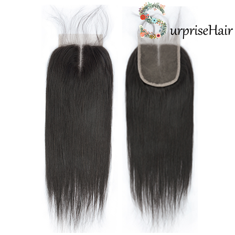 Brazilian hair Lace Closure Straight 4x4 Middle Part for African American