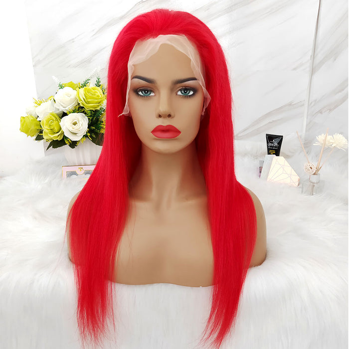 red color human hair lace wig straight