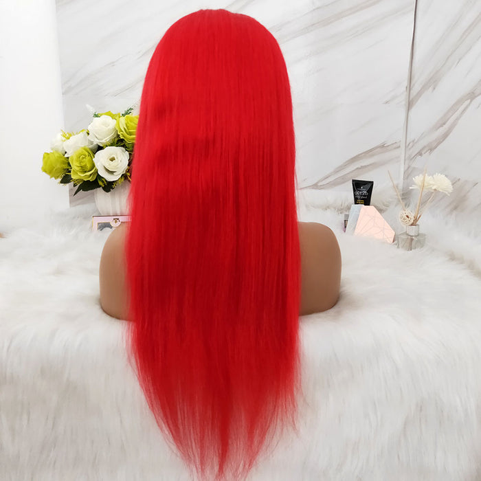 red color lace frontal wig brazilian hair