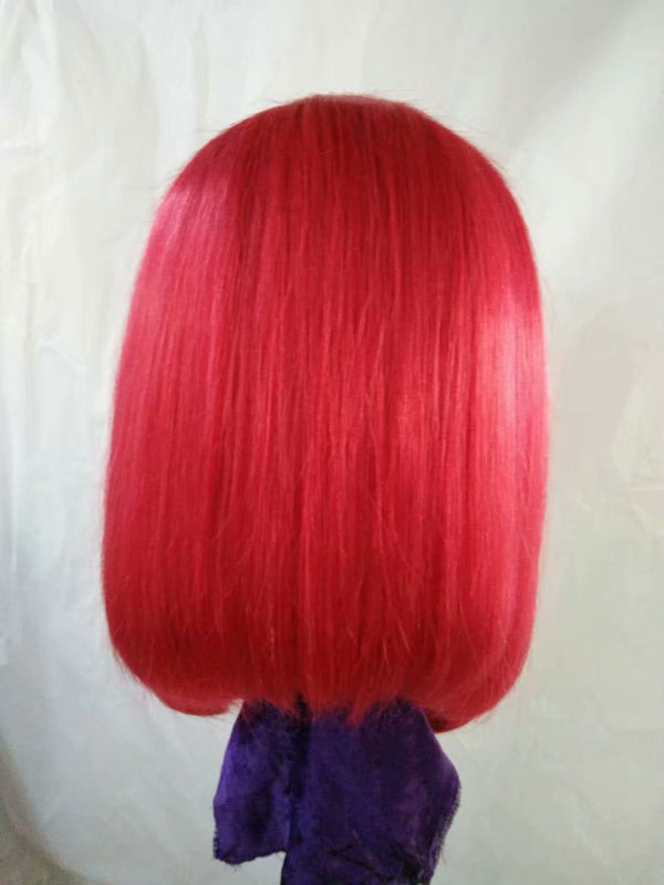 red ombre lace front wig human hair