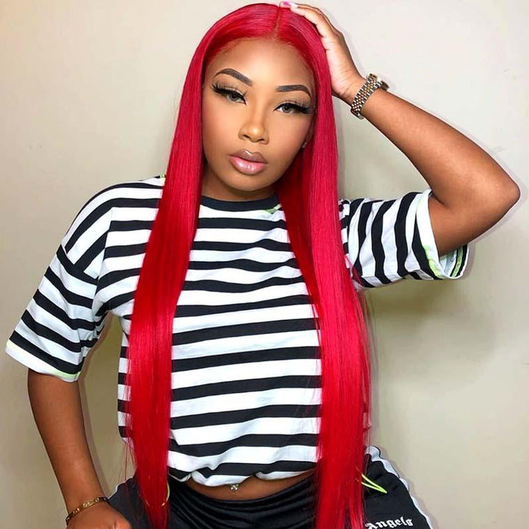 New #RED Color 13x4 Lace Frontal Wig Straight Human Hair Surprisehair