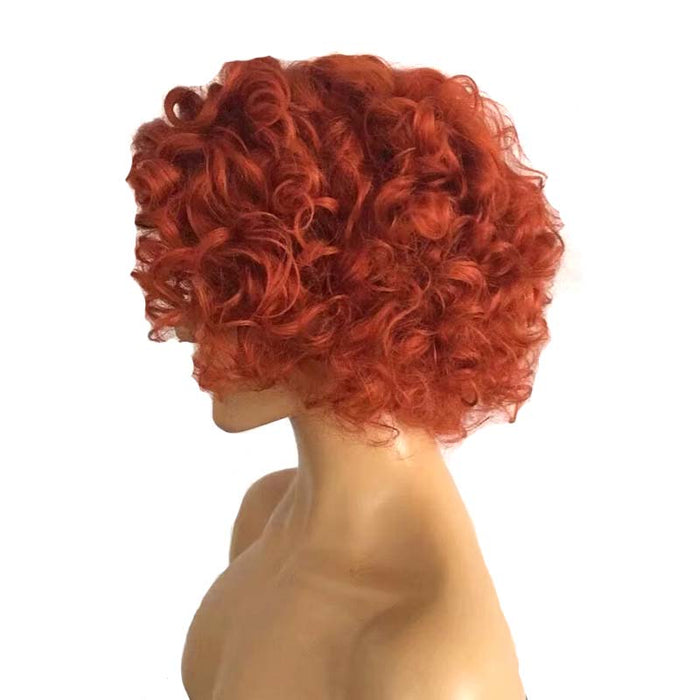 red human hair pixie cut wig curly