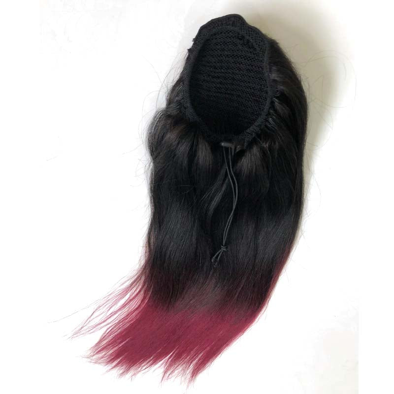red ombre brazilian hair ponytail