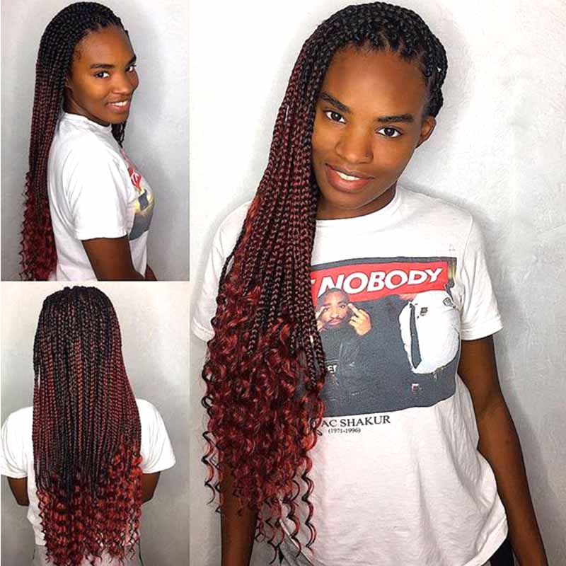 Long Ombre Red Box Braid Lace Frontal Wig For African American Surprisehair