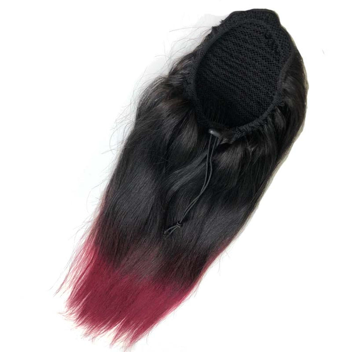 red ombre human hair ponytail straight