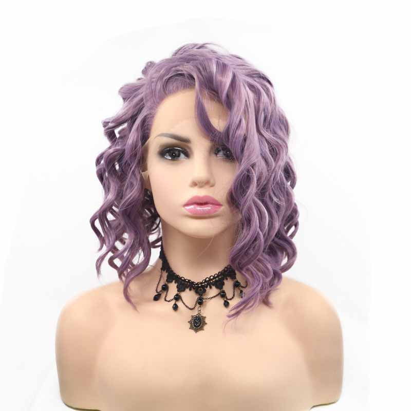 Surprisehair Side Part Short Synthetic Lace Front Wig Purple 10inch