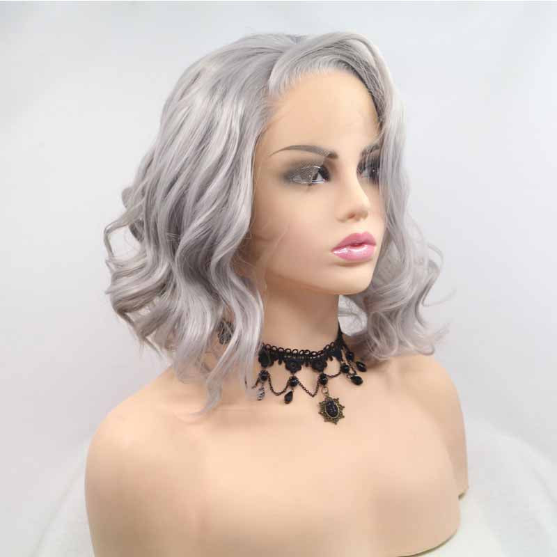 Surprisehair Short Grey Synthetic Lace Front Wig Wavy for Black Women