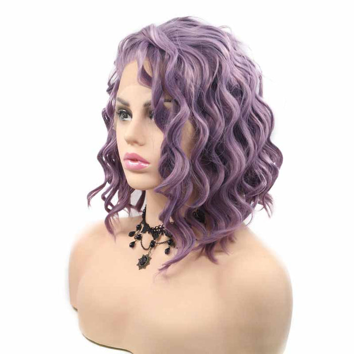 Side Part Short Synthetic Lace Front Wig Purple wavy