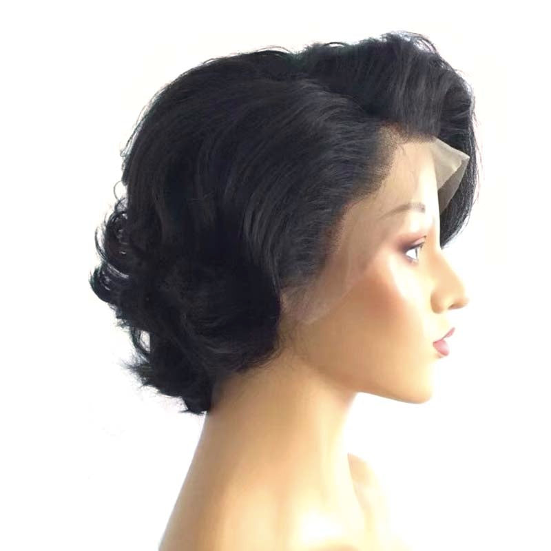 short black brazilian human hair pixie lace wig
