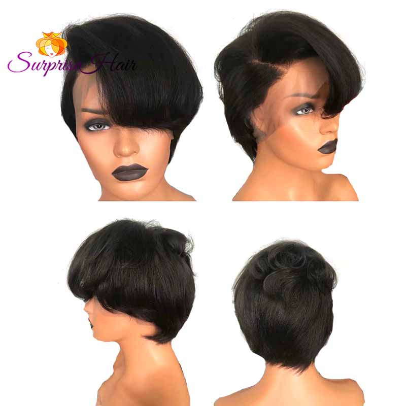 short black human hair pixie cut wig for black women