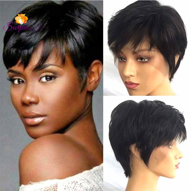 Short black pixie cut lace frontal wig human hair for African American Surprisehair
