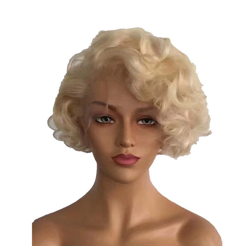 short blonde human hair curly pixie cut wig