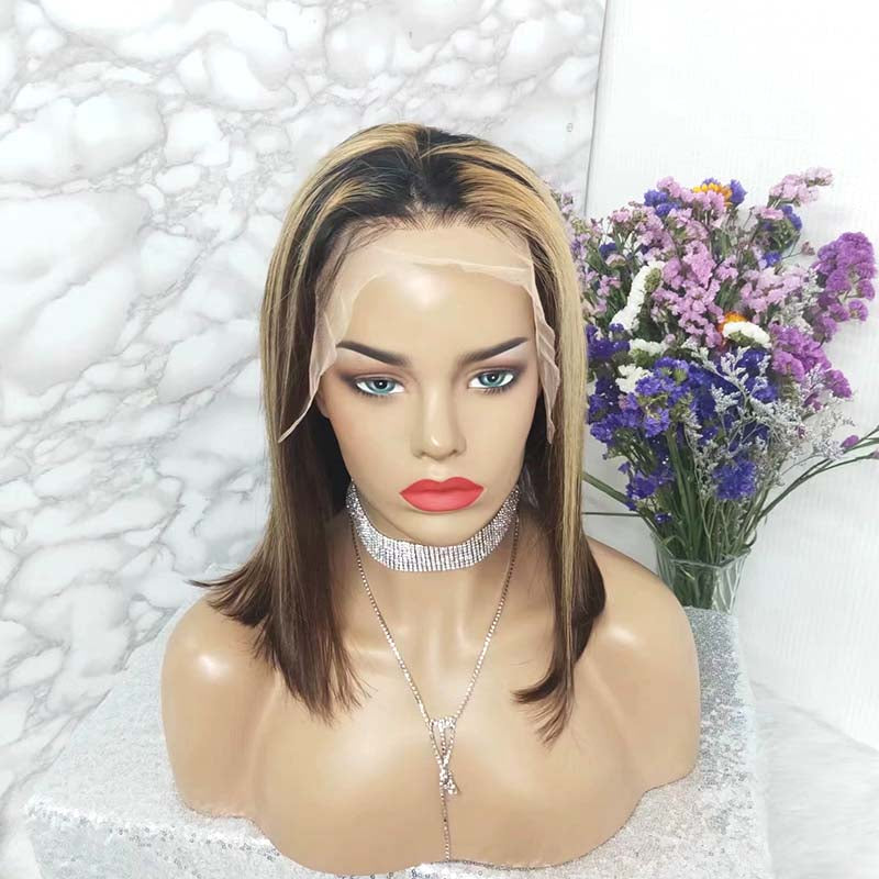 short bob lace wig highlight color for American African