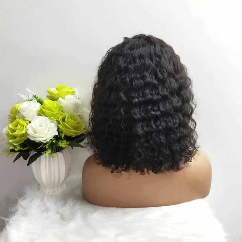short human hair curly bob wig for African American