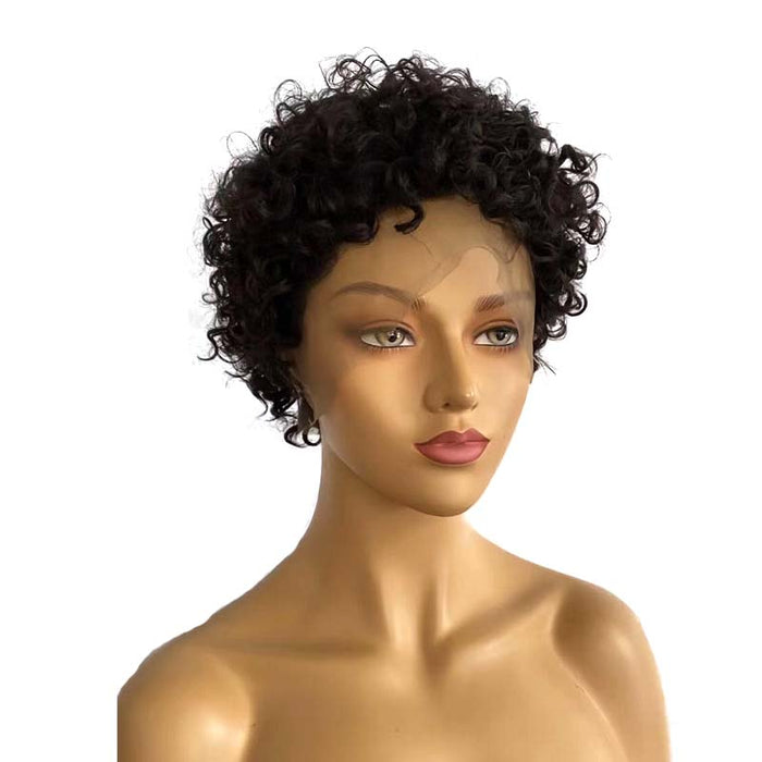 short human hair pixie cut curly wig