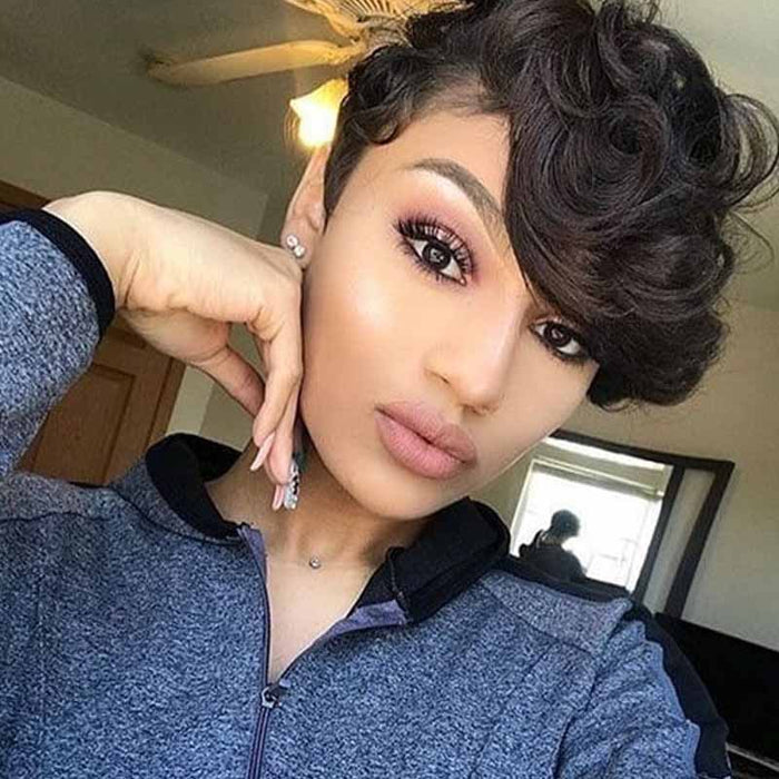 short human hair pixie cut lace wig wave for black women