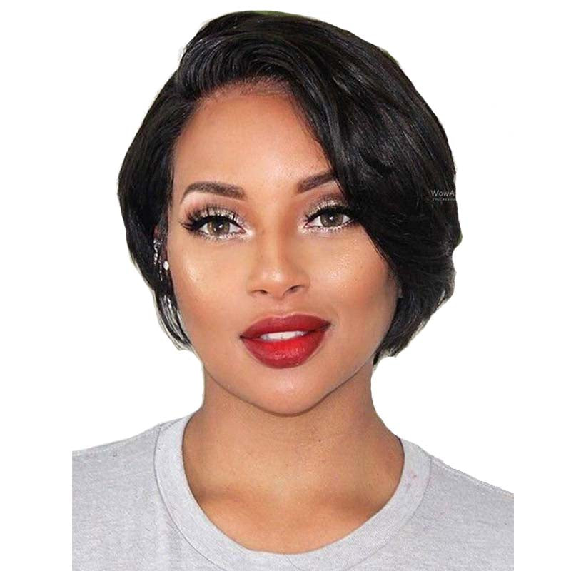 short human hair pixie cut wig black