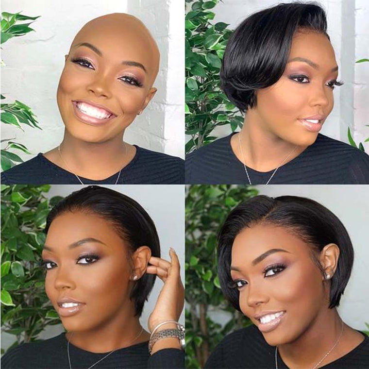 Black Short  Bob Pixie Cut Wig Human Hair High Density Surprisehair