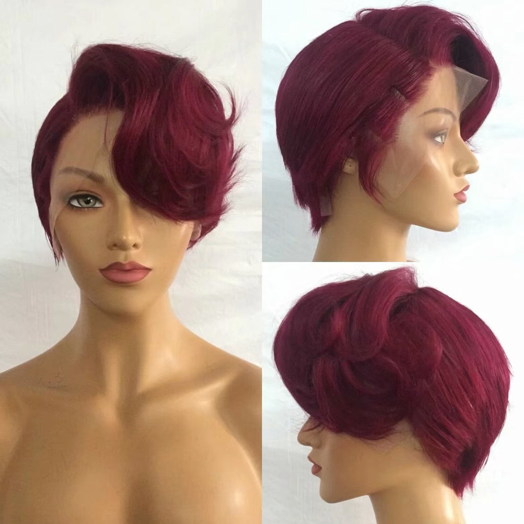 Short Red Pixie Cut Wig  Lace frontal Human Hair 180% Density Surprisehair