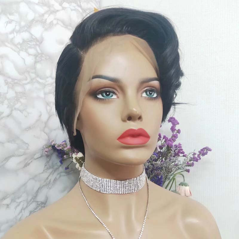 short virgin hair pixie cut wig lace front
