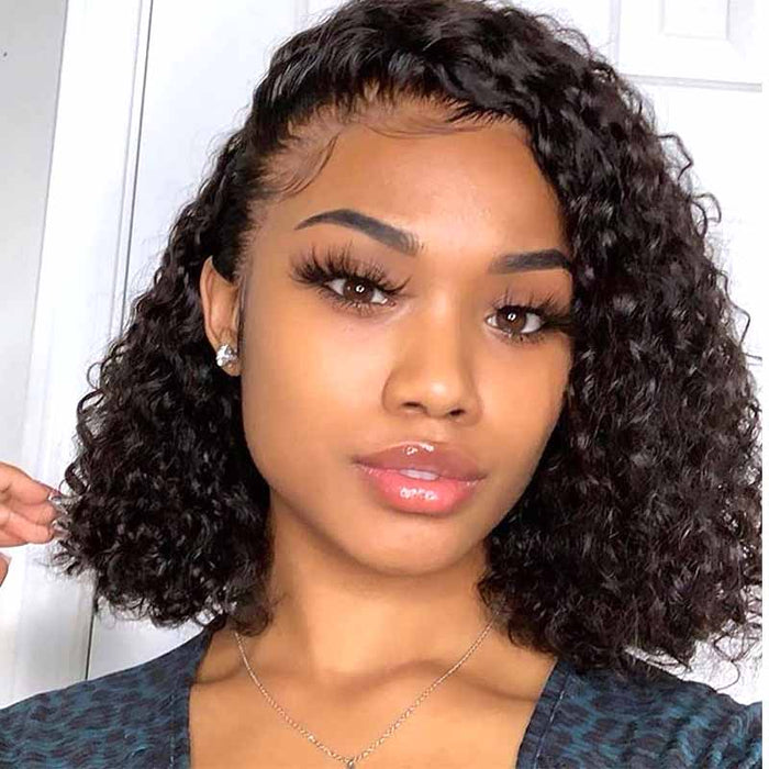 side part short human hair curly wig lace frontal fro black women