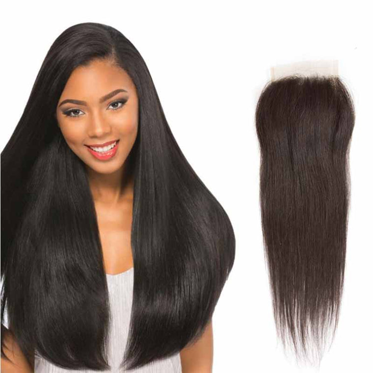 Quality Straight Lace Closure Free Part Peruvian human Hair Surprisehair