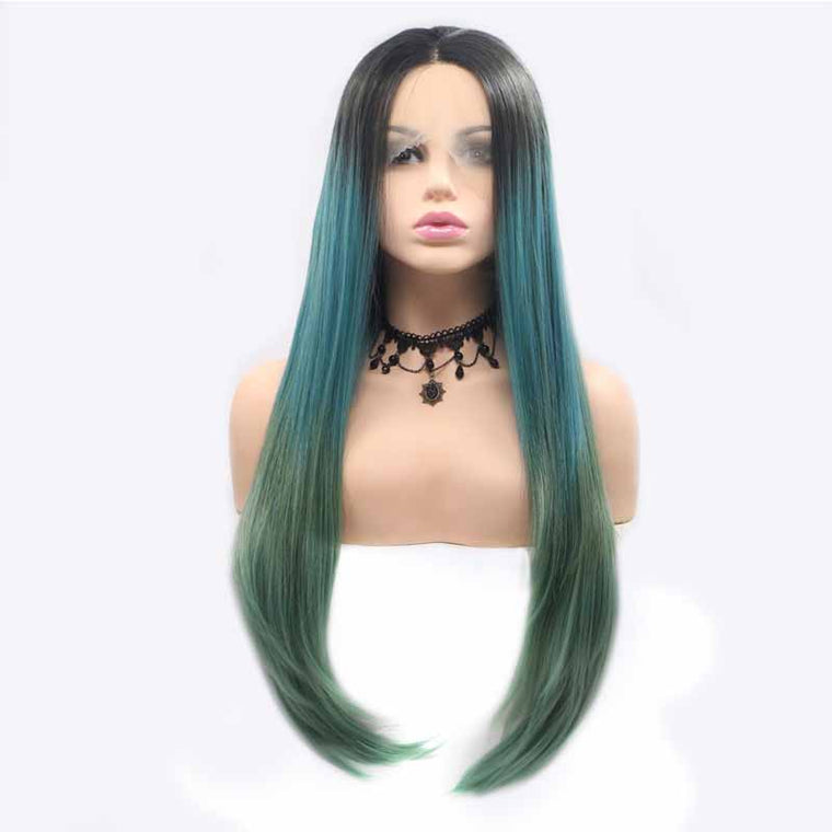 Surprisehair 24inch Synthetic Lace Front Wig Green Ombre Straight for Black Women