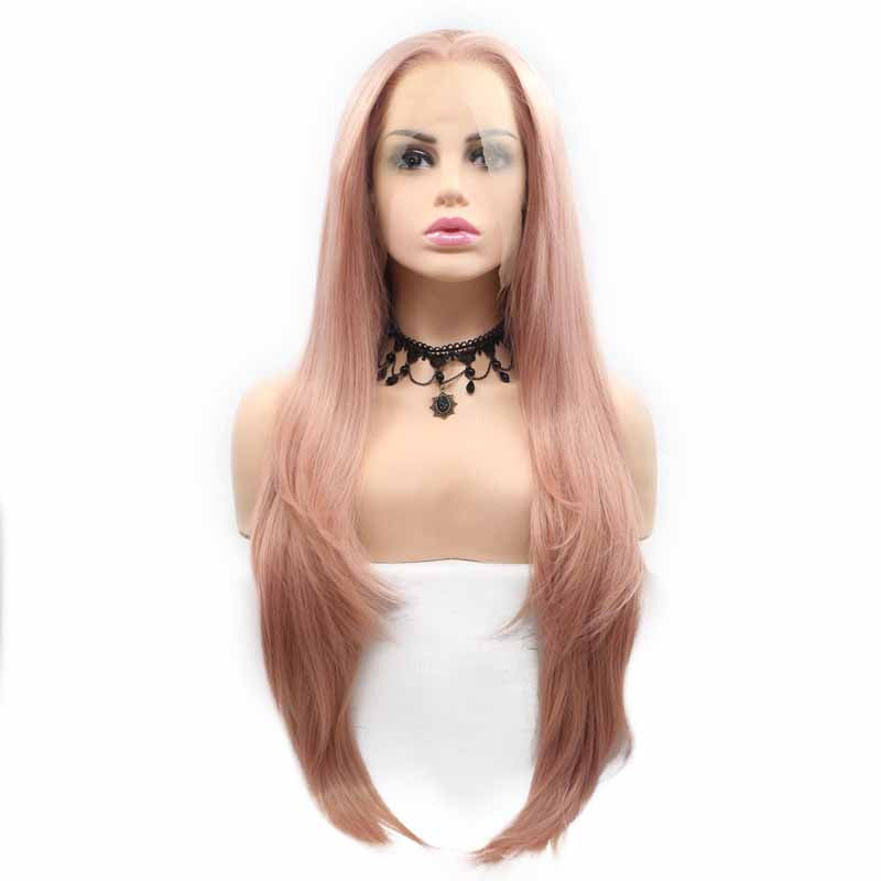 long synthetic wig pastel pink