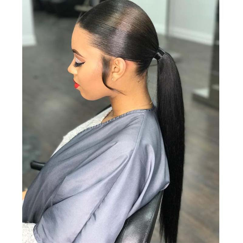 Straight Brazilian Human Hair Ponytail Puff for Black Women Surprisehair