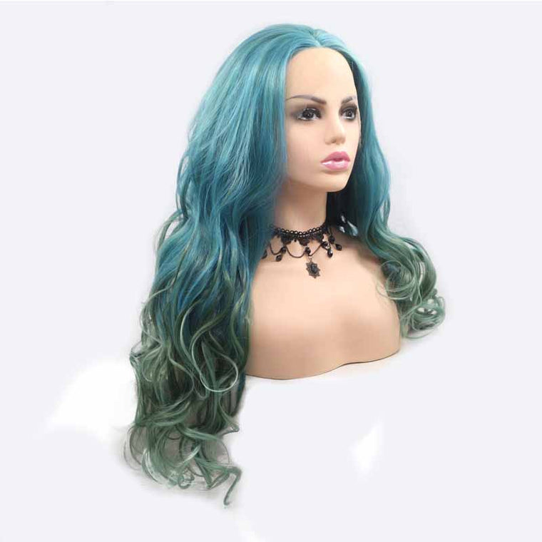 long Blue Green Synthetic Wig Body Wave