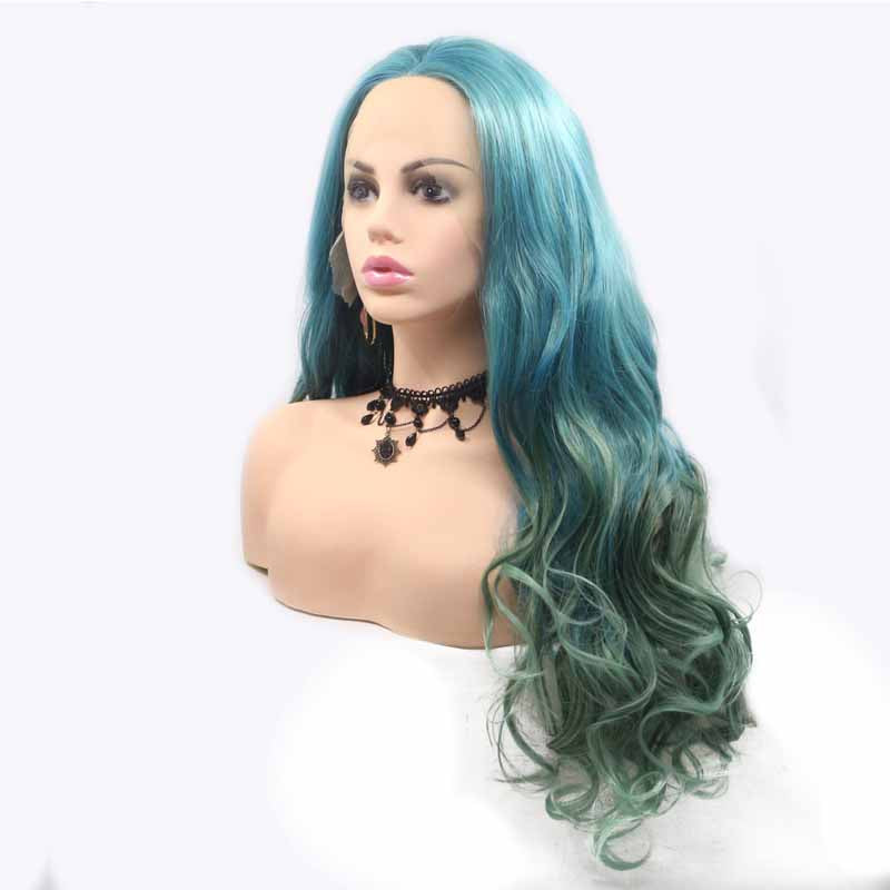 Blue Green Synthetic Wig Wave 24inch