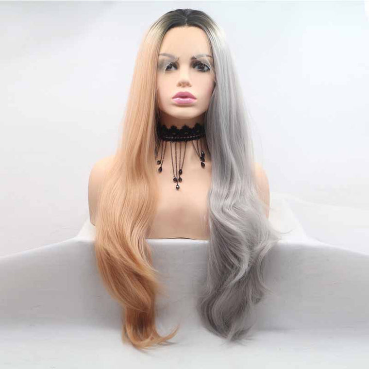 Surprisehair Brown Grey Synthetic Lace Front Wig Straight 24inch Wavy Wig For Sale