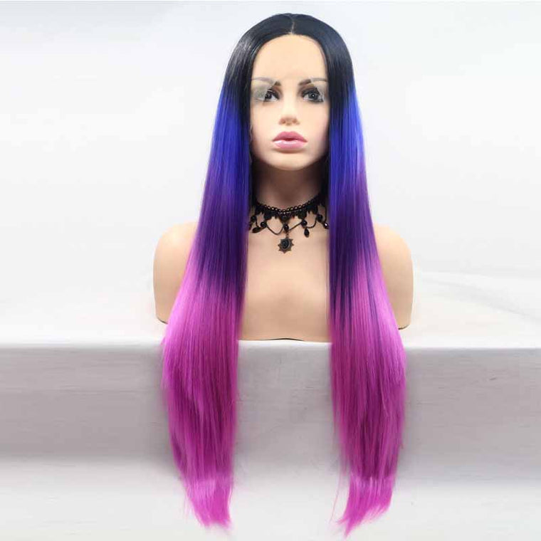 Surprisehair Cheap 3 Tone Color  Lace Wig Purple Multi Straight Synthetic