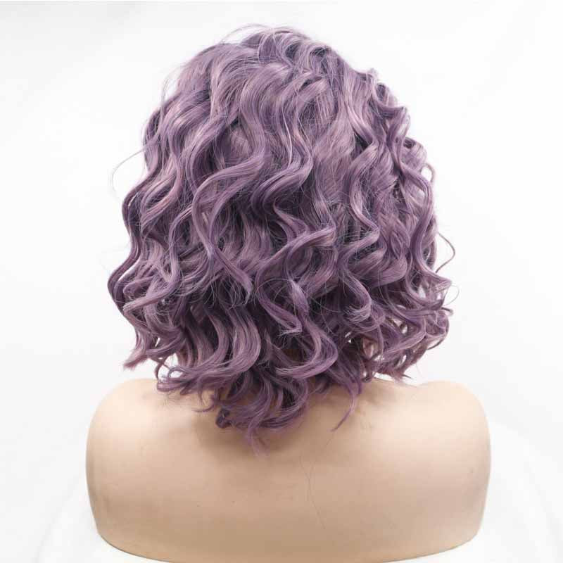 Short Synthetic Lace Front Wig Purple 10inch
