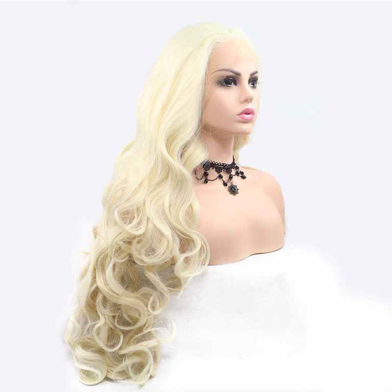 white synthetic lace wig