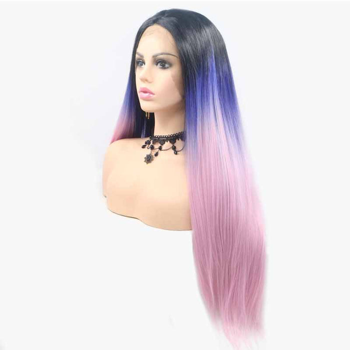 straight synthetic lace wig 3tone