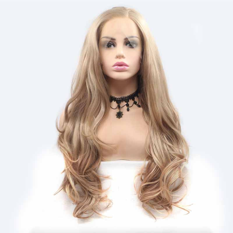 Light Brown Synthetic Lace Front Wigs with Baby Hair 24 inch
