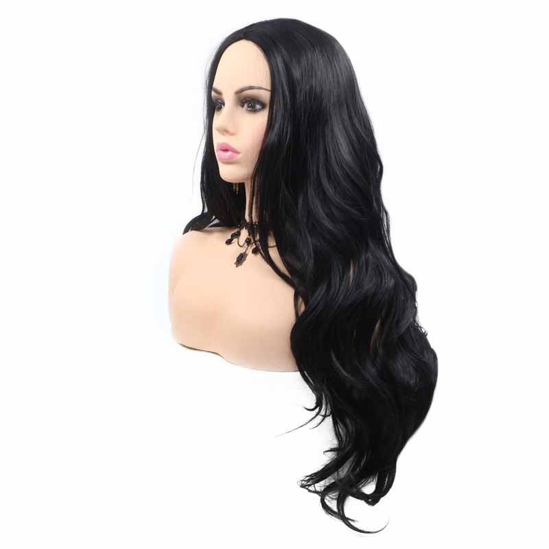 long jet black synthetic lace wig