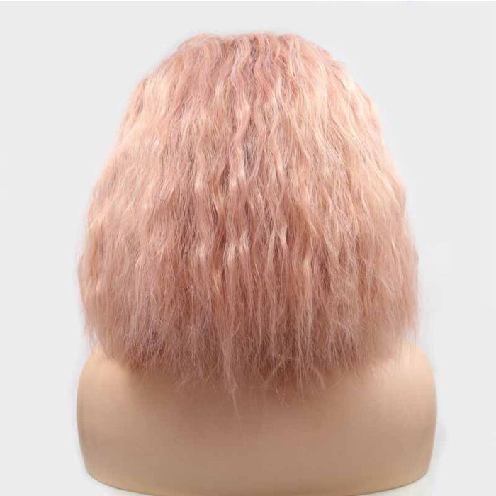 Synthetic Lace Wig Curly Pink color