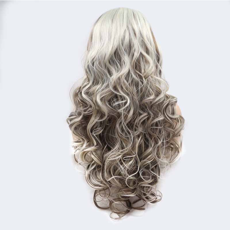 lace front synthetic hair wig grey multi color