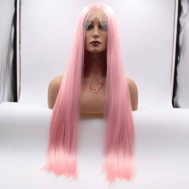 Surprisehair Top Quality Synthetic Lace Wig Straight Pink Color Long Wig