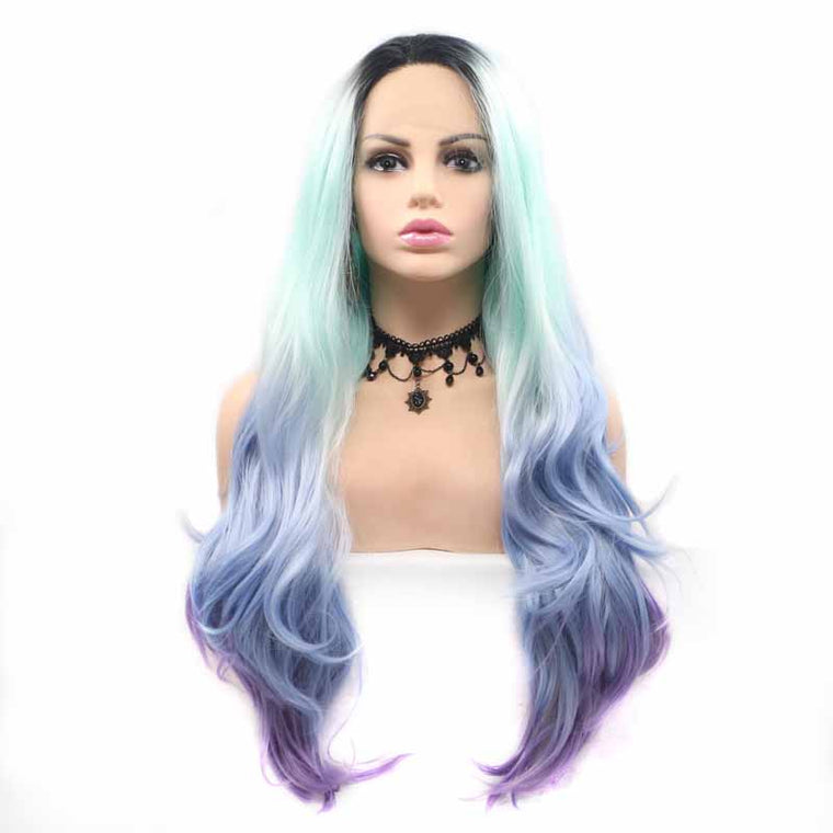 Surprisehair Bule 3 Tone Synthetic Wig Long Inch Body Wave Lace Wig
