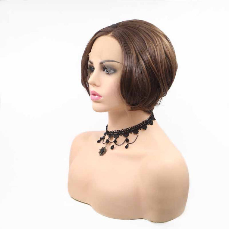 Dark Brown Synthetic Wig Bob 8inch