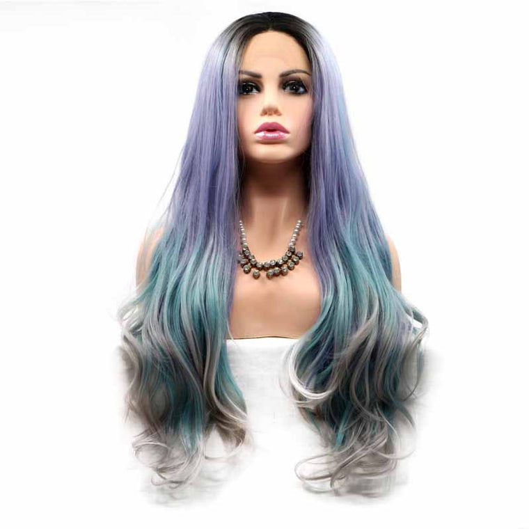 Surprisehair Dark 3 Tone Synthetic Wig  Lace Front Blue Purple Multi Body Wave Long