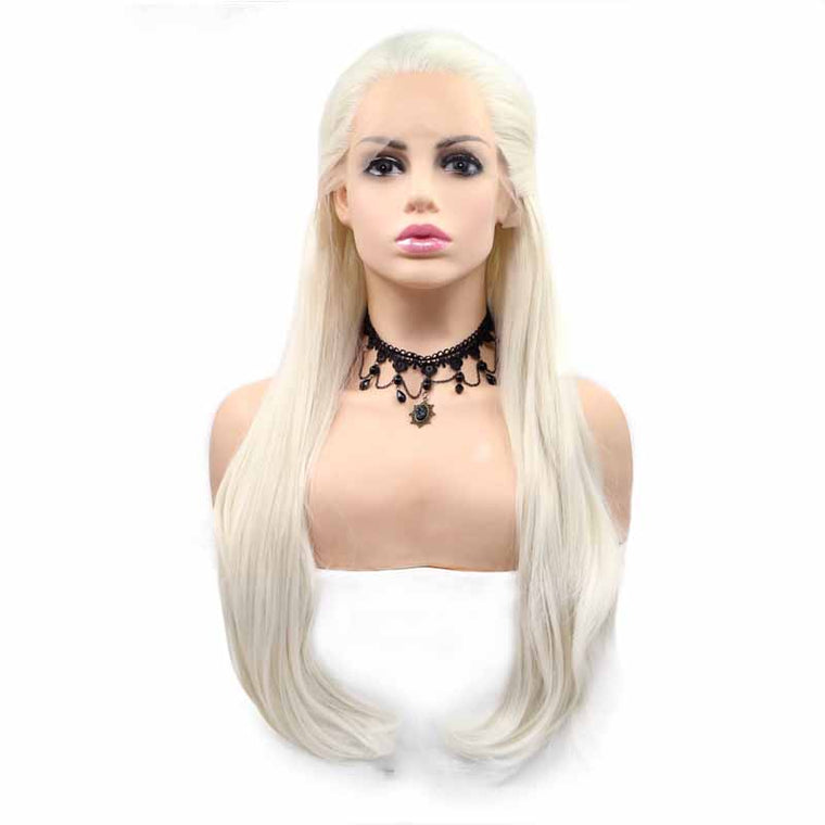 Surprisehair White Long Synthetic  Wig Straight Lace Front Wig 26inch